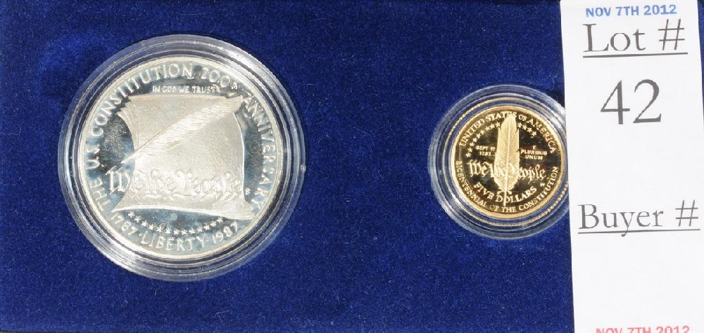 1987 US Constitution Gold and Silver set