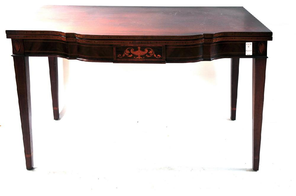 Mahogany inlaid centennial card table with hepple white legs