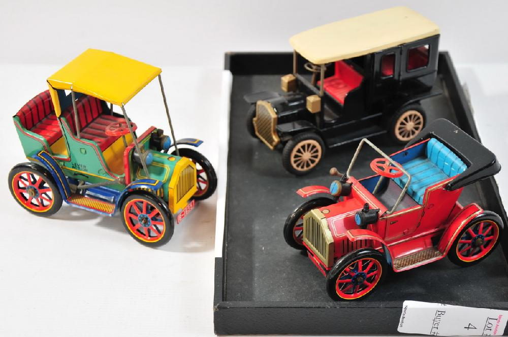 3 Vintage Japanese friction cars replicating early 20th century autos