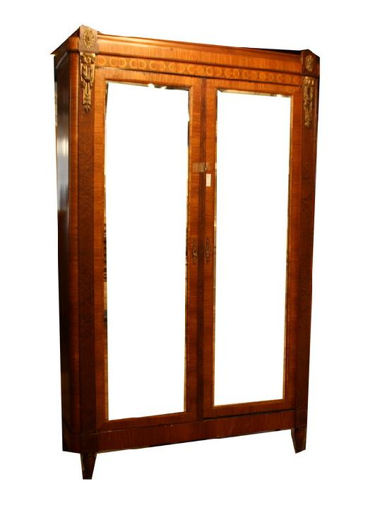 Mahogany Inlaid Two Door Mirrored Armoire