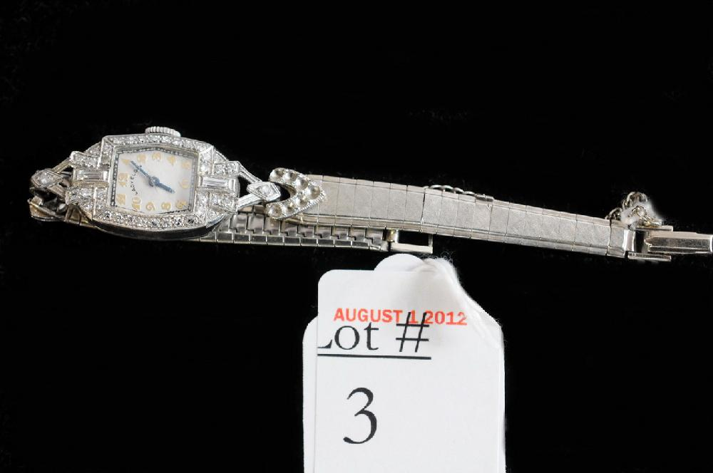 Ladies Platinum and Diamond Elgin wrist watch