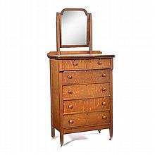 American oak highboy with beveled mirror