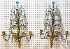 Pair FRENCH GILT BRONZE & CRYSTAL SCONCES