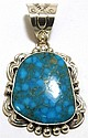 Navajo Stormy Mountain Turquoise Sterling Silver Pendant - Mary Ann Spencer