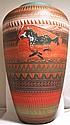 Navajo 2-Sided Running & Standing Horse Etched Pottery - Ernie Watchman