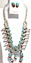 Zuni Coral & Turquoise Snake Squash Blossom Sterling Silver Necklace & Earrings Set - Effie Calavaza