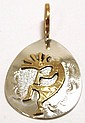 Navajo 12k Gold Fill Kokopelli Sterling Silver Pendant - George Jones