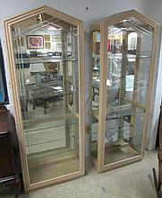PAIR MODERN MIRRORED BACK CURIO CABINETS
