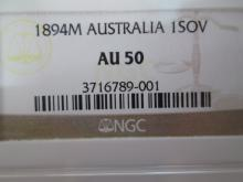 1894 M AUSTRIALIAN GOLD SOVEREIGN COIN NGC AU-50