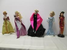 LOT OF 5 ASSORTED BARBIE DOLLS WITH STANDS