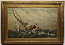 Antique American School 19th C. Marine w/ Cat Boats Race