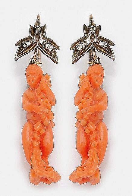 Paar Spätbiedermeier-Korallenohrgehänge