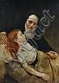 Ermenegildo Antonio Donadini, Ordensschwester am Bett eines kranken Mädchen. Um 1870.