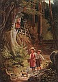 Monogrammist J.L.L., Zwei Kinder mit Hund beim