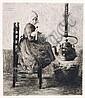 Ferdinand Schmutzer, Holländisches Mädchen mit einem Kaninchen. 1906.