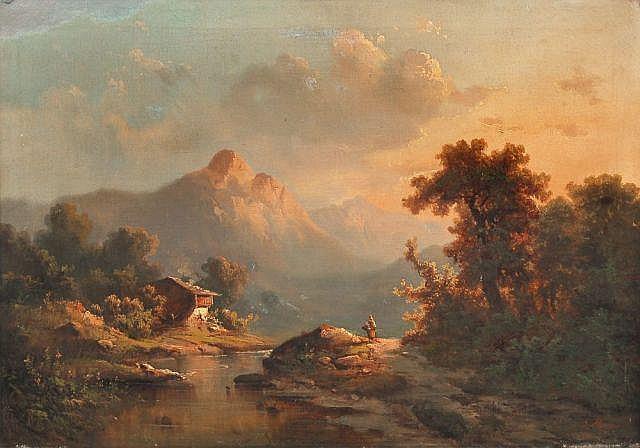 Guido Hampe, Gebirgsbach mit Bauernhaus im Abendlicht. Um 1875.