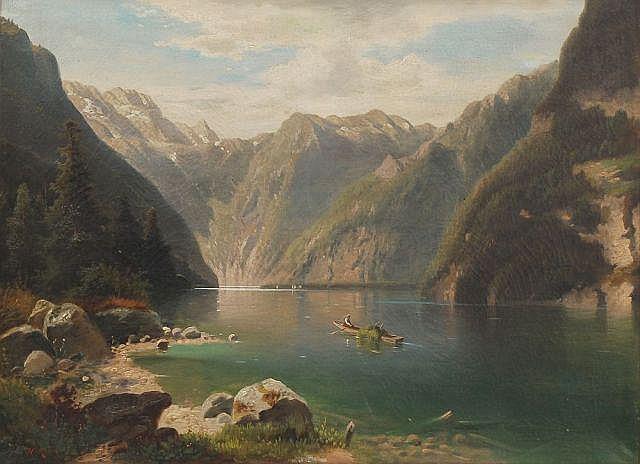 H. Moser, Idyll am Königssee mit Blick zum Watzmann. Wohl um 1885.