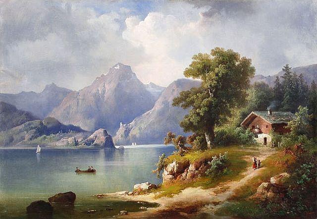 Guido Hampe, Hochgebirgslandschaft mit See und Bauernhaus. Um 1880.