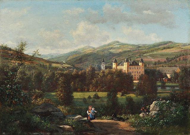 Therese Judeich(zugeschr.), Schloß Hohenelbe in Böhmen. Wohl 1868.