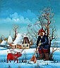 Željko Seleš, Bauer mit rotem Schwein im Schnee. 1976.