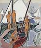 Johannes Sass, Am Bootssteg. Um 1950.