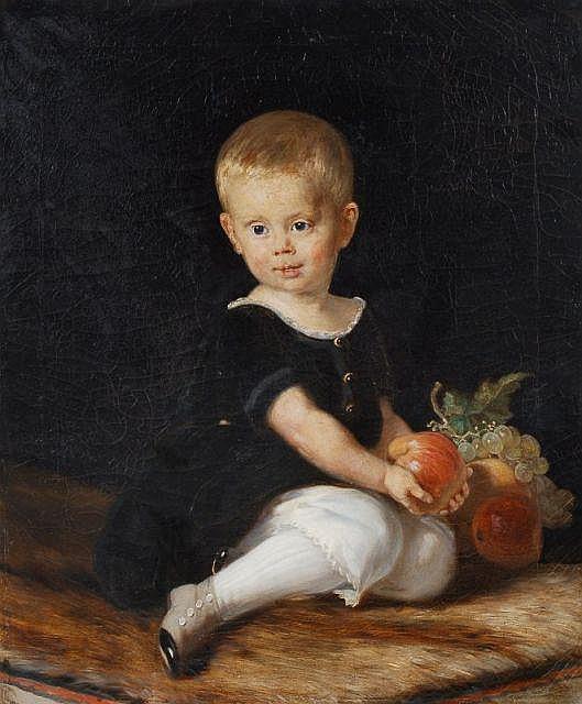 Carl Müller(zugeschr.), Bildnis eines sitzenden Knaben mit Früchten. Wohl 1857.