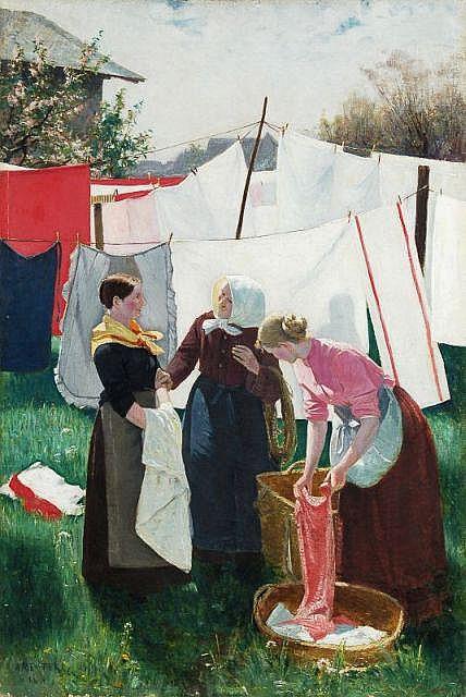 Alfred Willibald Reuter, Auf dem Wäschetrockenplatz. 1899.