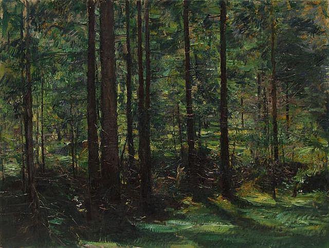 Rudolf Schramm-Zittau, Reh im Fichtenwald. Um 1900.