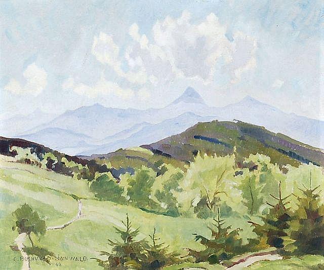 Erich Buchwald-Zinnwald, Blick auf das Mittelgebirge von Kundratitz. 1948.