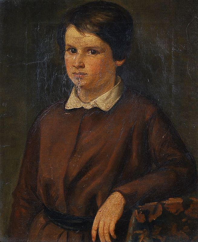 Hugo König(zugeschr.), Portrait eines Knaben. Um 1880.