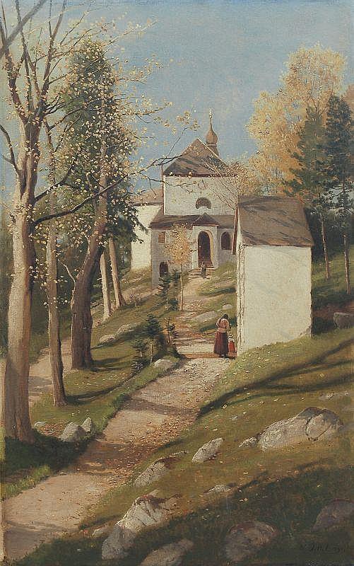 Wladimir Jettel, Kirchgang im Spätsommer. 1891.