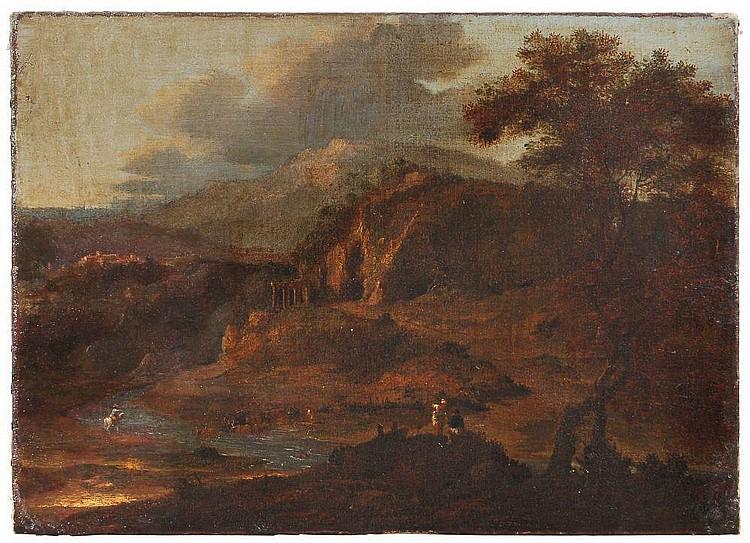 Unbekannter Künstler(in der Manier des Herman van Swanevelt), Kuhhirten in einer Ruinenlandschaft. Wohl 1st half 17th cent.