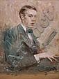 Paul Wilhelm, Selbstbildnis des Künstlers mit einem Buch in der Hand. Um 1912.