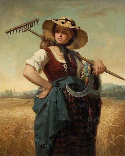 Alexander Küster(zugeschr.), Bauernmädchen mit Heurechen und Sichel. 1857.