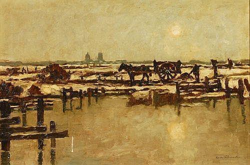 Unbekannter Künstler, Küstenlandschaft mit Pferdekarren. Um 1900.