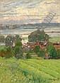 Adolf Fischer-Gurig, Dorflandschaft an der Elbe (?). 1895.
