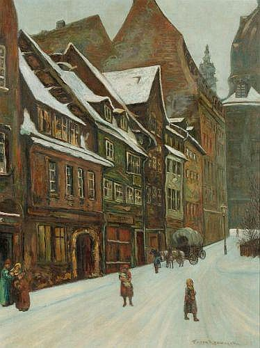 Franz Krowacek, Gasse zur Dresdner Frauenkirche. Early 20th cent.