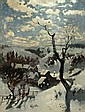 Adolf Fischer-Gurig, Dorflandschaft im Winter. 1888.