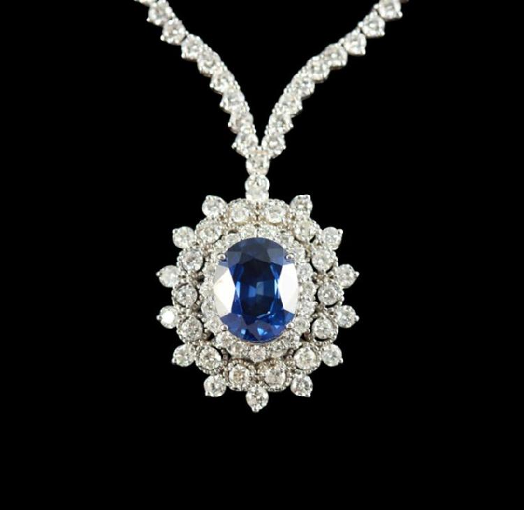 14KT Gold 5.28ct Sapphire and Diamond Pendant with Chain A4969