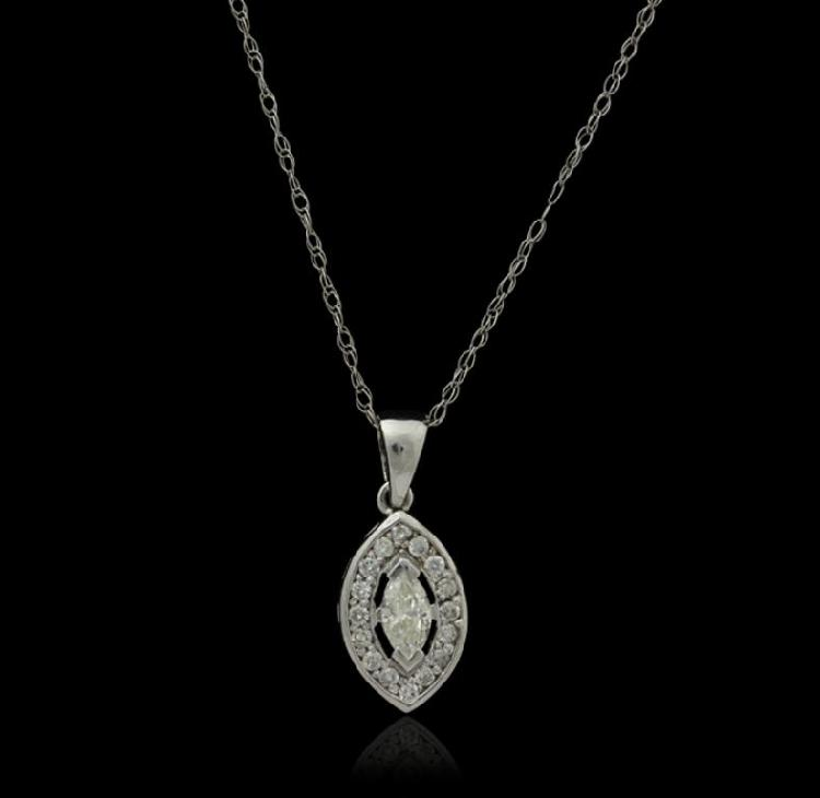 14KT White Gold 0.36ctw Diamond Pendant with Chain J103