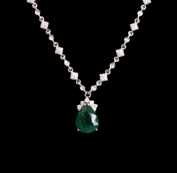 18KT White Gold 4.21ct Emerald and Diamond Necklace FJM2672