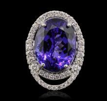 18KT White Gold GIA Certified 20.09ct Tanzanite and Diamond Ring