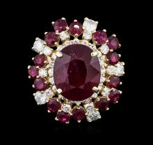 14KT Yellow Gold 10.52ctw Ruby and Diamond Ring