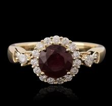 14KT Yellow Gold 0.94ct Ruby and Diamond Ring