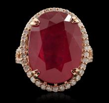 14KT Rose Gold 21.26ct Ruby and Diamond Ring