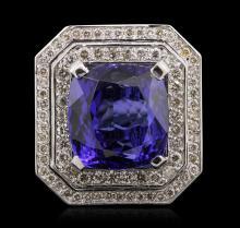 Platinum 15.86ct Tanzanite and Diamond Ring