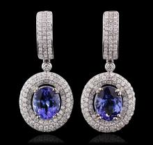 14KT White Gold 5.52ctw Tanzanite and Diamond Earrings