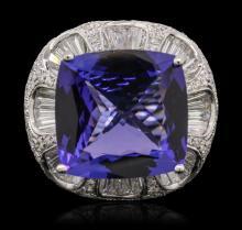 18KT White Gold GIA Certified 19.06ct Tanzanite and Diamond Ring