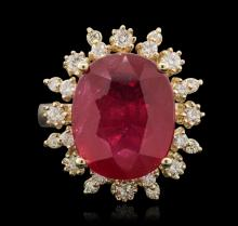 14KT Yellow Gold 7.73ct Ruby and Diamond Ring