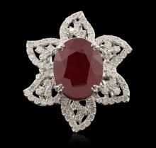 14KT White Gold 12.08ct Ruby and Diamond Ring